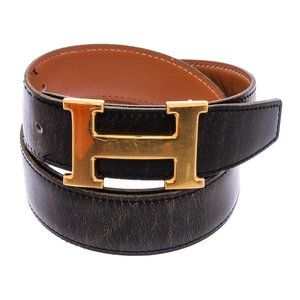 Hermes Black Brown Leather Belt Gold Plated Buckle